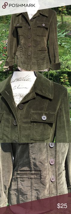"Talbots Petites Army Green Velvet Jacket Size 8 P Perfect ""Fall"" Jacket. New, never worn never washed. Verified Measurements; Bust 36"" and Length 23 1/2"". Photos do not do this Jacket justice. It has a very high quality look and feel! Thank You for Looking😀 Talbots Jackets & Coats Utility Jackets"