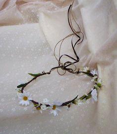 Rustic Flower Crown Daisy Headwreath made in Michigan wedding hair accessories bridal headpiece silk floral hairpiece shabby chic