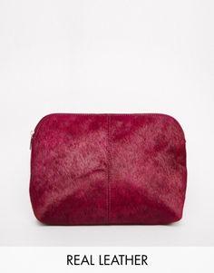 Red Pink Suede ASOS Pony Effect Leather Clutch Bag  Handbag @ ASOS $45