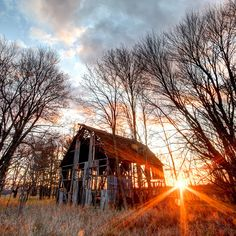 Barn, and the sun