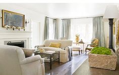 Contemporary living room - cream and gray.  Grey blue and white with natural linen and gold.