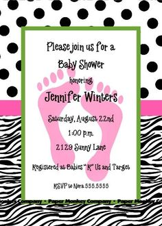 Zebra Print Baby Shower Invitations for Girl or by PMCInvitations