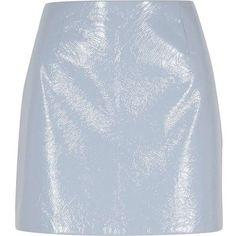 1468663d1c River Island Petite light blue vinyl mini skirt (375 HRK) ❤ liked on  Polyvore