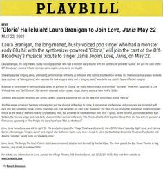"""May 2002, Laura joins Broadway musical """"Love Janis"""""""