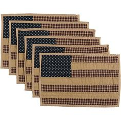 VHC Brands Patriotic Patch Placemat Quilted Set of 6 12x18 - Only $25.71 - Save 35%!