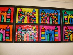 Castle artwork for fairy tales craft idea Classroom Art Projects, Art Classroom, Castles Topic, Chateau Moyen Age, Castle Crafts, Fairy Tale Crafts, Fairy Tales Unit, Paul Klee Art, Kindergarten Art Lessons