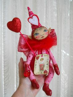 Primitive Folk Art Little Valentine Cupid Doll