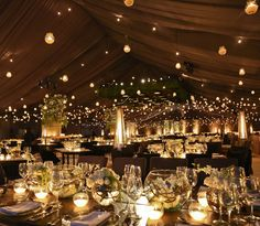 This is a bit of a light over load, but I like the candlelit tables, makes it feel warm and cosy even without anyone in the photo Sunset Wedding, Tent Wedding, Wedding Ceremony, Our Wedding, Dream Wedding, Wedding Venue Decorations, Wedding Themes, Wedding Events, Weddings