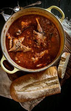 Rabbit Stew (rabbit, carrots, celery, yellow onion, garlic, tomatoes, vegetable broth, white wine, white vinegar, olive oil, butter, tomato paste, bay leaves, oregano, salt, pepper, allspice, cinnamon)