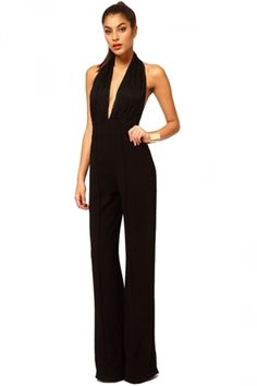 Black Office Ladies Halter Jumpsuit Jumpsuits And Rompers