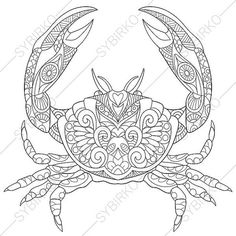 Ocean Crab Coloring Page. Adult coloring by ColoringPageExpress