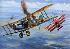 """WWI Aviation books cover art - Here's the """"Dogfight Doubles"""" art for the home defence Bristol and the (naturally) all-red Fokker Manfred Von Richthofen, Southampton, Fighter Aircraft, Fighter Jets, Fokker Dr1, Airplane Art, World War One, Nose Art, Aviation Art"""