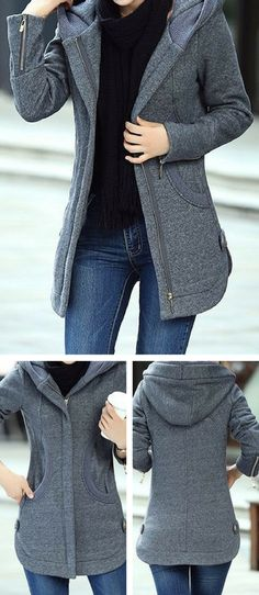 Long Sleeve Zipper Up Hooded Collar Grey Coat.