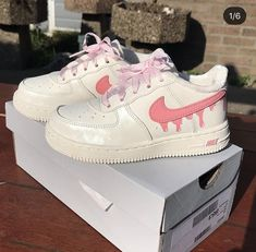 nike Air Force with a pink slime woosh Basket Style, Sneaker Women, Tn Nike, Nike Shoes, Shoes Sneakers, Aesthetic Shoes, Painted Shoes, Dream Shoes, Custom Shoes