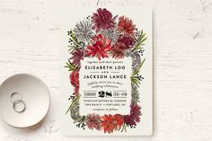 """Dahlia Bouquet"" - Floral & Botanical Wedding Invitations in Wine by Alethea and Ruth."