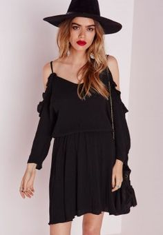 c6d847c832 Cheesecloth Cold Shoulder Skater Dress Black Cheesecloth