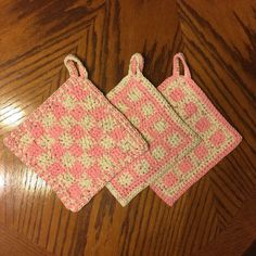 Handmade Set of 3 Crocheted Pot Holders.