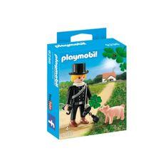 Łapcie się za guziki:) Nadchodzi:)  Kominiarz w kapeluszu, z kulą do czyszczenia komina oraz koniczynką i świnką ...   Pewnie pożegnał Irlandię :)  Mini zestaw Playmobil 9296 dla dzieci już od lat 4.   Kominom w Krakowie czyszczenie się przyda:)  #playmobil #kominiarz #kominy #zabawki #niczchin #kraków