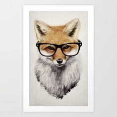 red fox, glasses, fox