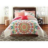 Teen Girls Rainbow Unique Prism Pink Blue Green Colorful Patten Bedding Set, Queen (6 Piece Bed in a Bag)