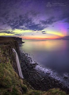 Aurora over Kilt Rock and Mealt Falls ... Isle of Skye, Scotland | by Stephen Emerson on 500px