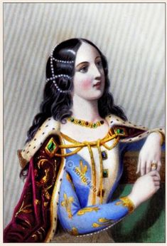 Middle ages nobility clothing. Medieval costumes. French nobility, Queen of France. Renaissance‎ and Burgundian fashion isabelle de Valois 1370 1435