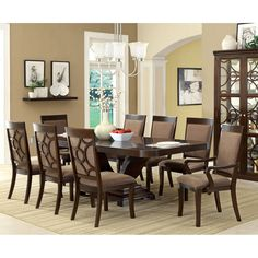 Furniture of America Woodburly 9-Piece Dining Set with Leaf | Overstock.com Shopping - Big Discounts on Furniture of America Dining Sets $2,207.99