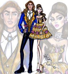 Hayden Williams fashion illustrations 'Disney darling couples' by Hayden Williams: Belle & Prince Adam