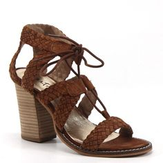 Diba True Shoes Tradin Up 3.5 Inch Heel Suede Woven Brown Sandals