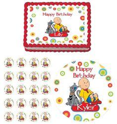 Caillou Edible Birthday Party Cake Image Sticker Cupcake Topper