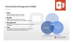 Total-Quality Management PowerPoint Templates: Total: Quality Management involves everyone and all tasks and activities of a company. Quality: Degree to which the product (or service) fulfils customer requirements or was produced correctly. Management: Quality must be managed by planning, organizing, leading and controlling. #presentationload  http://www.presentationload.com/toolbox-tqm.html