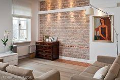 Cegła na ścianie w salonie: aranżacja salonu 10 inspiracji