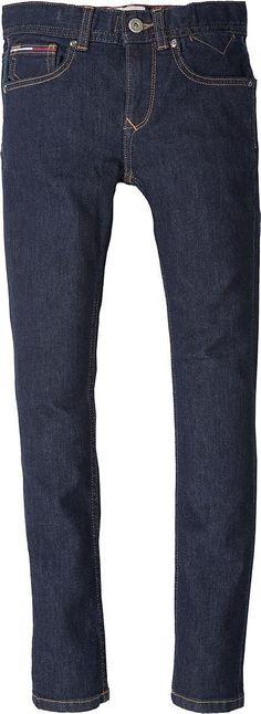 Schöne Tommy Hilfiger Jeans mit dunkelblauer Waschung, schmalem Bein und normaler Leibhöhe. An der Münztasche befindet sich das Flag-Label.98% Baumwolle, 2% Elastan...