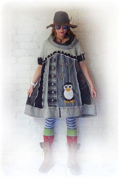 Penguin Dress Cute Upcycled Smock Short Sleeve Emo by TheTopianDen