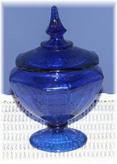 Art Glass Cobalt Blue Candy Dish Depression Glass