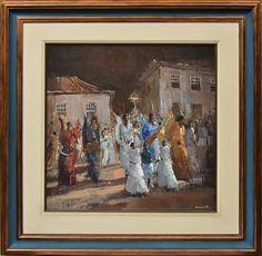 """ROMANELLI, ARMANDO (1945). """"Procissão do Divino em Paraty"""", óleo s/ tela, 60 X 60. Assinado no c.i.d. e no verso, datado (1980)."""