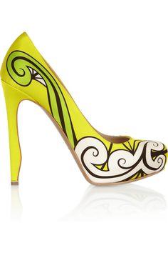 Nicholas Kirkwood|Neon printed silk-satin pumps |NET-A-PORTER.COM
