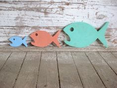 Food Chain 3 fish wood sign beach decor cottage rustic distressed shabby chic