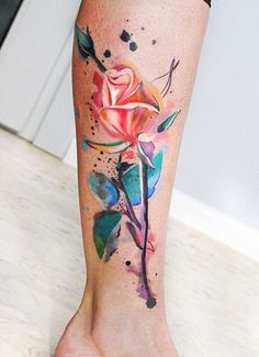 Watercolor rose leg tattoo for women - 100+ Meaningful Rose Tattoo Designs