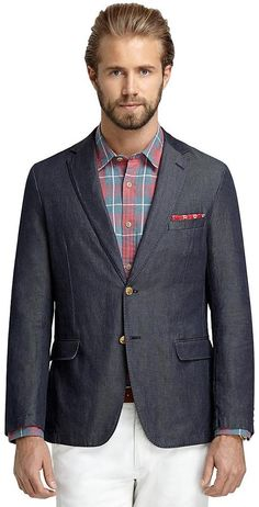 $199, Navy Denim Blazer: Brooks Brothers Washed Denim Sport Coat. Sold by Brooks Brothers. Click for more info: http://lookastic.com/men/shop_items/47617/redirect
