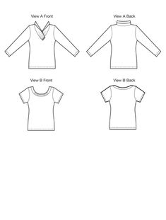 Kwik Sew K3915 Line Art - Pullover tops with lapped rolled collar or gathered neckline, with sleeve options.
