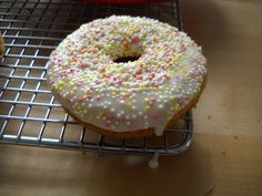 Gluten-Free Baked Donuts with vanilla glaze and sprinkles!