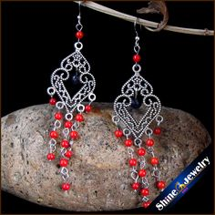 Vintage Tibetan Style Fashion Jewelry Earrings for Women with Coral & Lapis lazuli Stones Beads Long Dangle Earings Female -ZY06