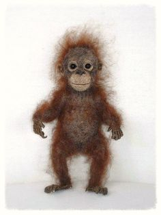 Needle Felted Baby Orangutan by FireflyFelts on Etsy