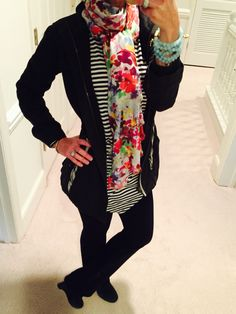 OOTD...cabi Spring '16 Boat Stripe Tee, Flora Scarf, Azul Bead Bracelet, Spring 15 Weekend Jacket and vintage (can't remember which season) Run Around Pant. nancydowning-schloss.cabionline.com