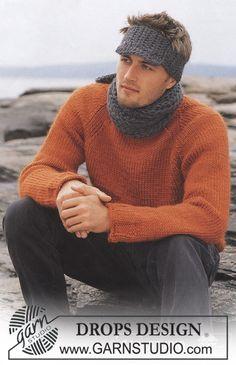 Nils - Sættet består af: DROPS sweater, halstørklæde og pandebånd med skærm. - Free pattern by DROPS Design