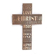 Names of Jesus Christ 11 inch Bronze Resin Stone Wall Cross * Learn more by visiting the image link.-It is an affiliate link to Amazon. #HomeDecorAccents