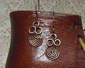 copper triple swirl dangle earrings