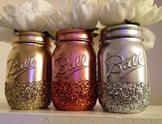 Copper, Metallic, Silver Painted & Glitter Dipped Jars #diy #mason #upcycle #centerpiece #decor