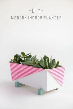 Modern indoor planter DIY